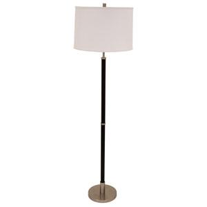 Hardwick Satin Nickel with Black Leather Four-Light Floor Lamp