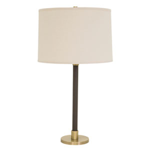 Hardwick Antique Brass with Brown Leather Four-Light Table Lamp