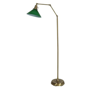 Otis Antique Brass 49-Inch One-Light Floor Lamp with Green Shade