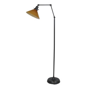 Otis Oil Rubbed Bronze 49-Inch One-Light Floor Lamp with Amber Shade