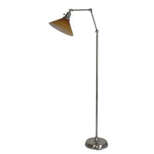 Otis Satin Nickel 49-Inch One-Light Floor Lamp with Amber Shade
