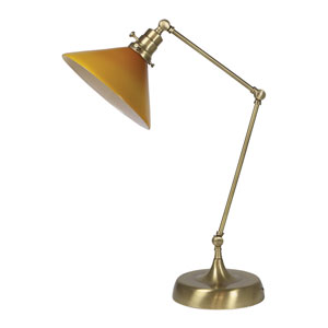 Otis Antique Brass 26-Inch One-Light Table Lamp with Amber Shade