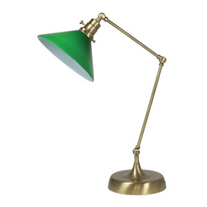 Otis Antique Brass 26-Inch One-Light Table Lamp with Green Shade