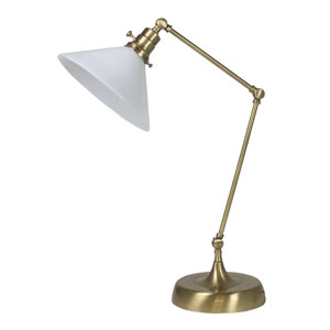 Otis Antique Brass 26-Inch One-Light Table Lamp with White Shade