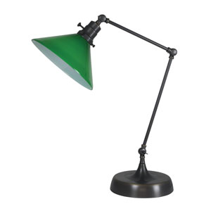 Otis Oil Rubbed Bronze 26-Inch One-Light Table Lamp with Green Shade