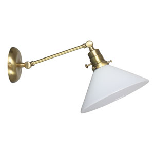 Otis Antique Brass One-Light Wall Arm Swing with White Shade