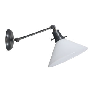 Otis Oil Rubbed Bronze One-Light Wall Arm Swing with White Shade