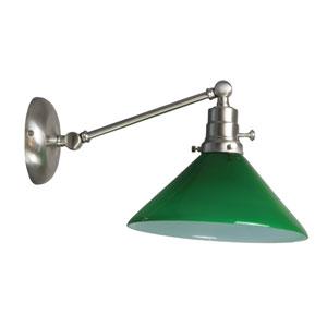 Otis Satin Nickel One-Light Wall Arm Swing with Green Shade