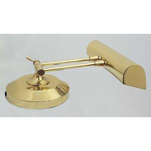 14-Inch Polished Brass Lamp For Upright Piano