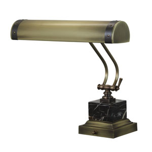 Steamer Antique Brass with Mahogany Bronze Accents 14-Inch Two-Light Piano or Desk Lamp