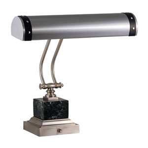 Steamer Satin Nickel with Black Accents 14-Inch Two-Light Piano or Desk Lamp