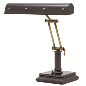 Mahogany Bronze with Antique Brass Accents 14-Inch Two-Light Desk Piano Lamp with Ball Motif
