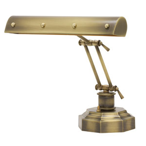 Antique Brass with Polished Brass Accents 14-Inch Two-Light Desk Piano Lamp with Ball Motif