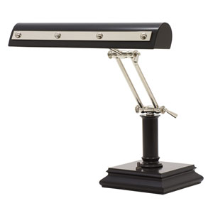 Black with Polished Nickel Accents 14-Inch Two-Light Desk Piano Lamp with Rivet Motif