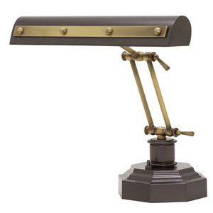 Mahogany Bronze with Antique Brass Accents 14-Inch Two-Light Desk Piano Lamp with Rivet Motif