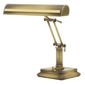 Antique Brass with Polished Brass Accents 14-Inch Two-Light Desk Piano Lamp with Strap Motif