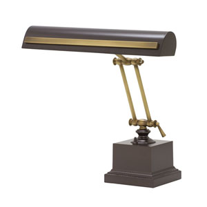 Mahogany Bronze with Antique Brass Accents 14-Inch Two-Light Desk Piano Lamp with Strap Motif