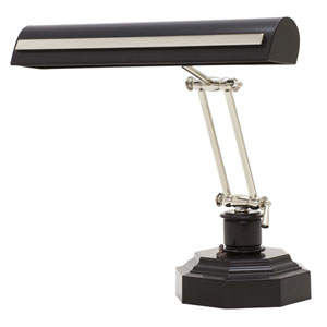 Black with Polished Nickel Accents 14-Inch Two-Light Desk Piano Lamp with Strap Motif
