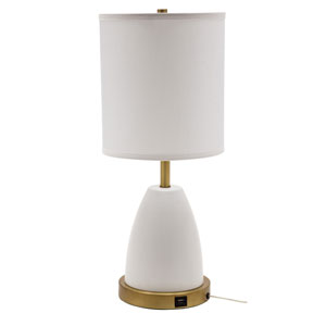 Rupert White with Weathered Brass Accents One-Light Table Lamp