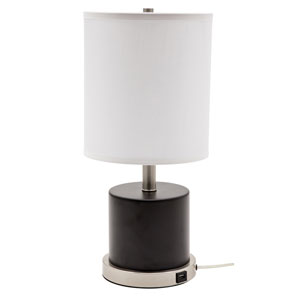 Rupert Black with Satin Nickel Accents One-Light Table Lamp