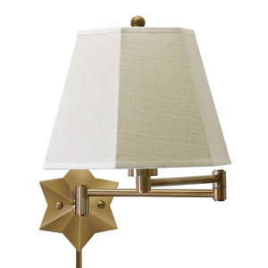 Decorative Antique Brass 15-Inch One-Light Swing Arm Lamp
