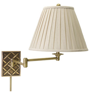 Decorative Antique Brass One-Light Swing Arm Lamp