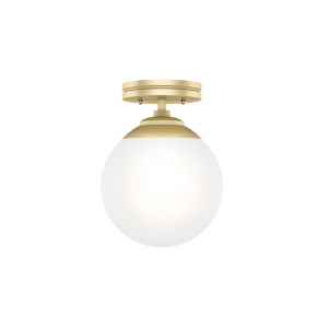 Hepburn Polished Brass Eight-Inch One-Light Semi Flush Mount