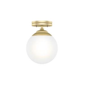 Hepburn Polished Brass Eight-Inch One-Light Semi Flush Mount