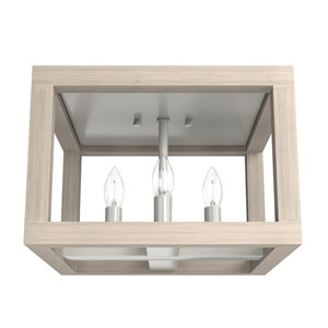 Squire Manor Brushed Nickel 12-Inch Four-Light Flush Mount
