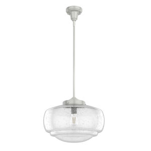 Saddle Creek Brushed Nickel One-Light Pendant with Seeded Glass