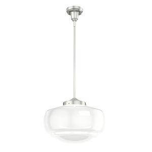 Saddle Creek Brushed Nickel One-Light Pendant with Cased White Glass