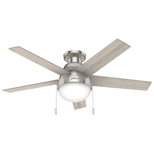 Anslee Low Profile Brushed Nickel 46-Inch LED Ceiling Fan