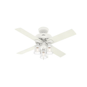 Pelston Matte White 44-Inch Three-Light LED Ceiling Fan