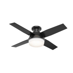 Dempsey Matte Black 44-Inch Outdoor Two-Light LED Ceiling Fan