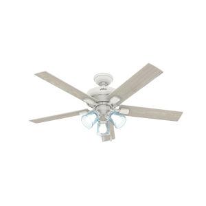 Whittier Matte White Three-Light LED 52-Inch Ceiling Fan