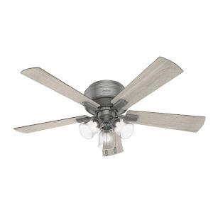 Crestfield Matte Silver Three-Light LED 52-Inch Low Profile Ceiling Fan