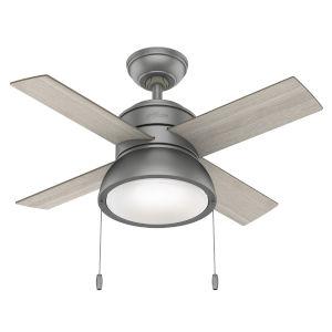 Loki Matte Silver 36-Inch Two-Light LED Ceiling Fan
