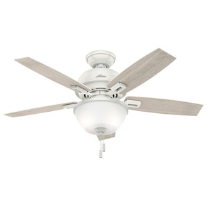Donegan Fresh White and Oak 44-Inch Two-Light LED Adjustable Ceiling Fan