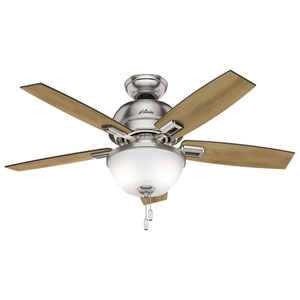Donegan Brushed Nickel 44-Inch Two-Light LED Adjustable Ceiling Fan