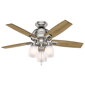 Donegan Brushed Nickel and Oak 44-Inch Three-Light LED Adjustable Ceiling Fan