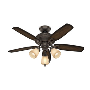 Ambrose Onyx Bengal 44-Inch Three-Light LED Adjustable Ceiling Fan