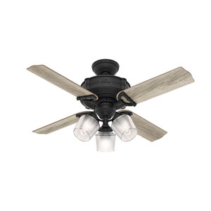 Brunswick Natural Iron and Oak 44-Inch Three-Light LED Adjustable Ceiling Fan