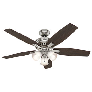 Newsome Brushed Nickel 52-Inch Three-Light Fluorescent Adjustable Ceiling Fan