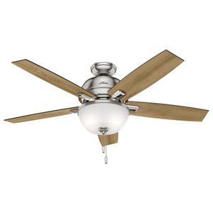 Donegan Brushed Nickel 52-Inch Two-Light LED Adjustable Ceiling Fan