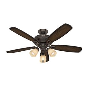 Ambrose Onyx Bengal 52-Inch Three-Light LED Adjustable Ceiling Fan