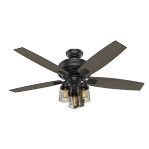 Bennett Matte Black 52-Inch Three-Light LED Adjustable Ceiling Fan