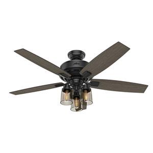 Bennett Matte Black 52-Inch Three-Light LED Adjustable Ceiling Fan