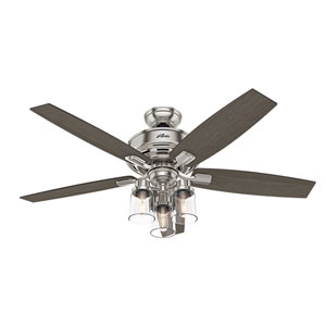 Bennett Brushed Nickel 52-Inch Three-Light LED Adjustable Ceiling Fan