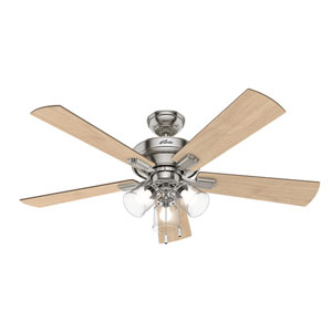 Crestfield Brushed Nickel 52-Inch Three-Light LED Adjustable Ceiling Fan