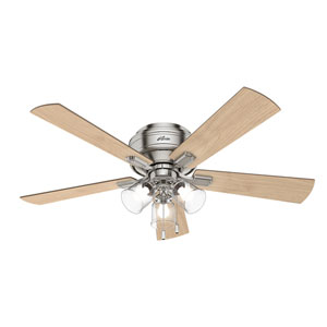 Crestfield Brushed Nickel 52-Inch Three-Light LED Ceiling Fan